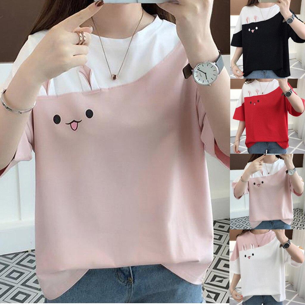 Camisetas femeninas para Mujer 2020, camisetas de manga corta con cuello redondo de conejo con estampado informal para vacaciones en casa, camisetas de talla grande para Mujer