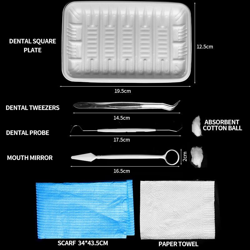 Medical Dental Disposable Dental Dental Instruments Examination Kit Mouth Mirror Tool Tweezers Examination Dental