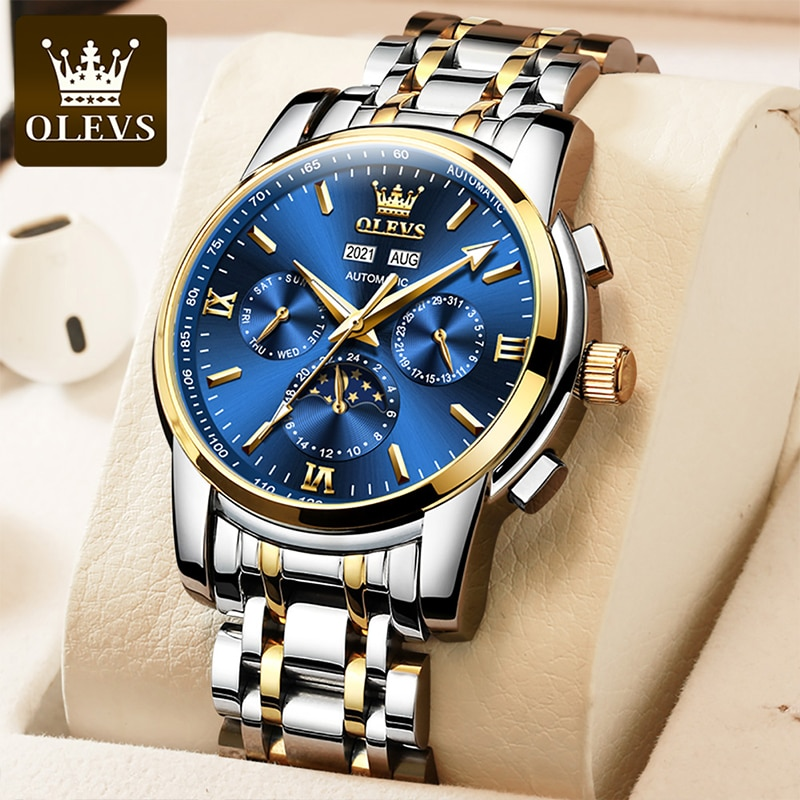 OLEVS New Luxury Business Moon Phase Automatic Mechanical HD Luminous30M Waterproof Stainless Steel Strap Reloj Hombre 6633 enlarge