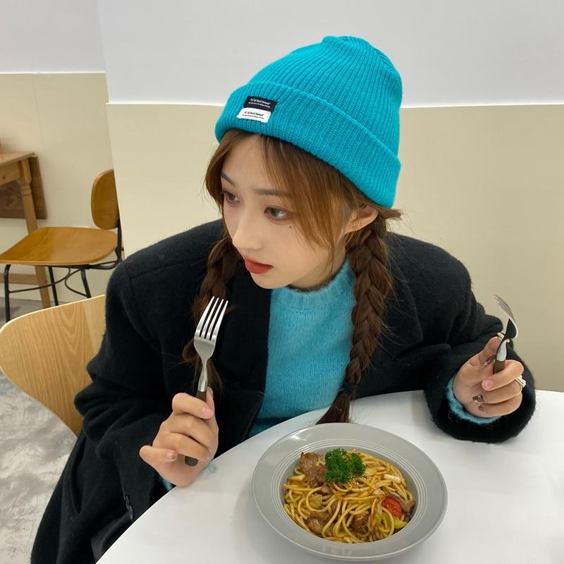 White Lake Blue Knitted Hat Women's Korean-Style Ins Japanese Patch Hat Autumn Winter Woolen Cap War