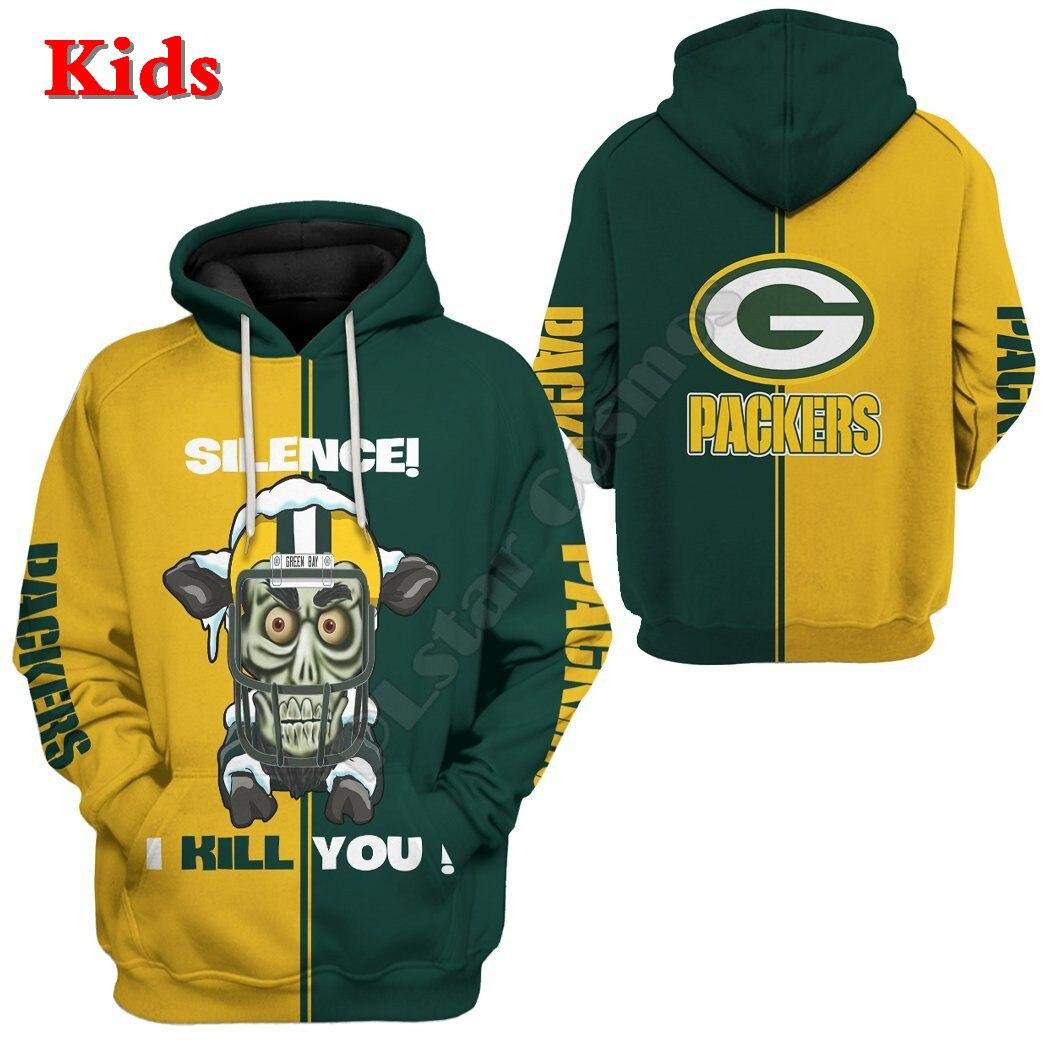 Green Bay Packers Custom 3D Printed Hoodies Kids Pullover Sweatshirt Tracksuit Jacket T Shirts Boy Girl Cosplay apparel 12