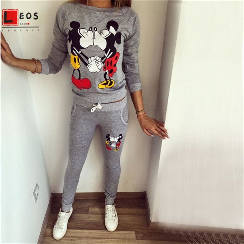 Women Sportswear Set Mickey Minnie Cartoon Print 2Pcs For Lady Casual Hoodies Long Sleeve Long Pant Fashion New Female Tracksuit