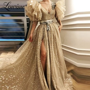 Amazing Arabic Party Dresses High Split Side A Line Prom Dresses Long Dubai Formal Middle East Women Evening Gowns 2020 Vestidos