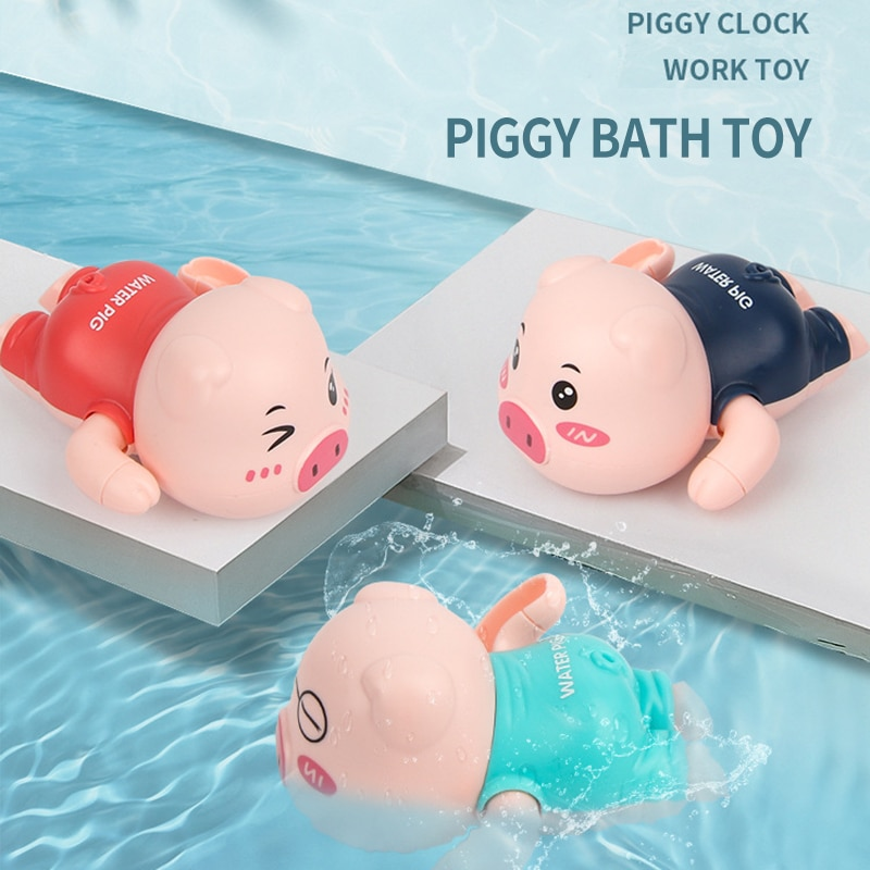 Baby Bathing Toy Cute Cartoon Pig Clockwork Classic Baby Water Toys Infant Swim Wound-Up Chain Kids Beach Bath Toys 24 Month baby bath toys duck clockwork educational toys swim bathing kids water swimming chain shower toy gift for newborn baby wholesale