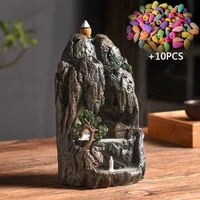 with 10pcs cones smoke waterfall backflow incense cones resin backflow incense burner mountain stream censer holder freeshipping