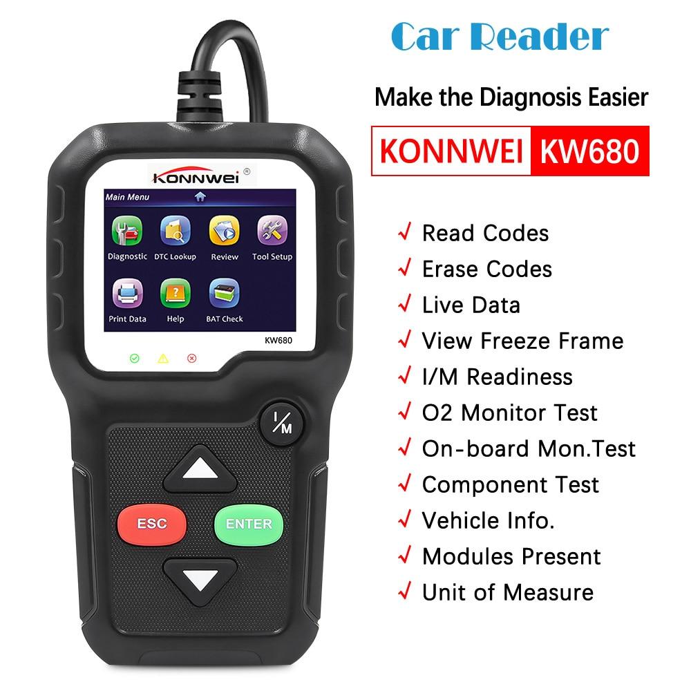 OBD2 الماسح الضوئي سيارة OBD التشخيص السيارات أداة تشخيص KONNWEI KW680 قراءة واضحة خطأ رموز الروسية OBD2 السيارات الماسح الضوئي