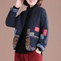 women filling cotton thin jacket autumn and winter lndie folk style woman parkas female coats