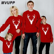 Weihnachten familie passenden outfits aussehen vater mutter sohn tochter cartoon druck baumwolle hoodies kinder sets baby kinder kleidung winter