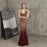 v neck mermaid sequins evening dress long party dresses women evening vestido longo dourado festa sequin formal evening gown