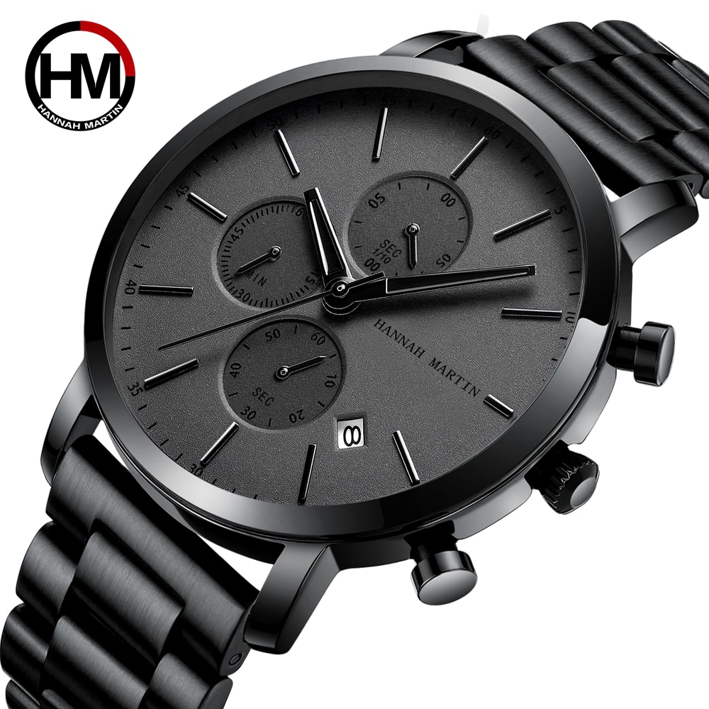 New Japan Multifunction Chronograph Calendar Movement High Quality Mens Stainless Steel Waterproof W