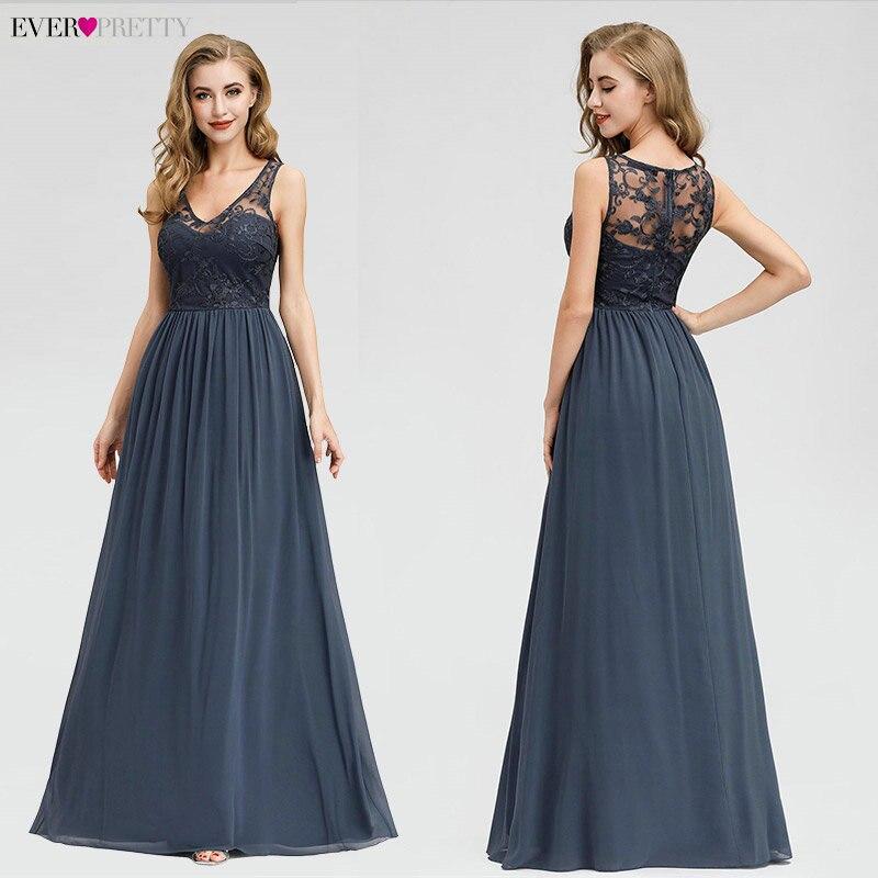 Elegant Lace Evening Dresses 2020 Ever Pretty EZ07999DN A-Line V-Neck Sleeveless Formal Long Dresses