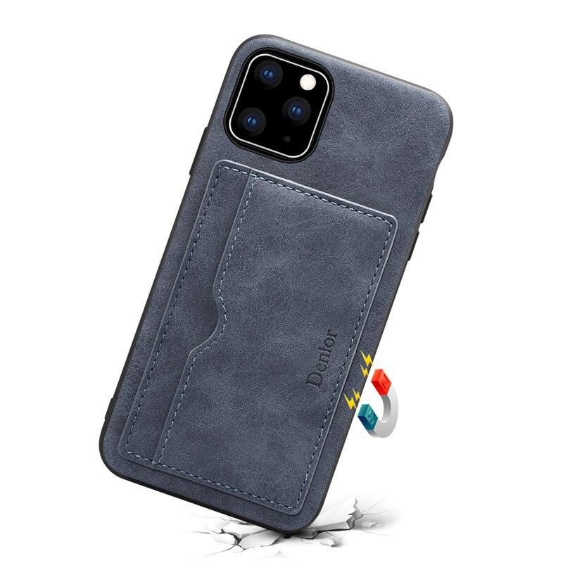 Funda trasera para iPhone 11/11 Pro/11 Pro Max funda con ranura para tarjetas diseño de moda soporte a prueba de golpes Holde funda antigolpes