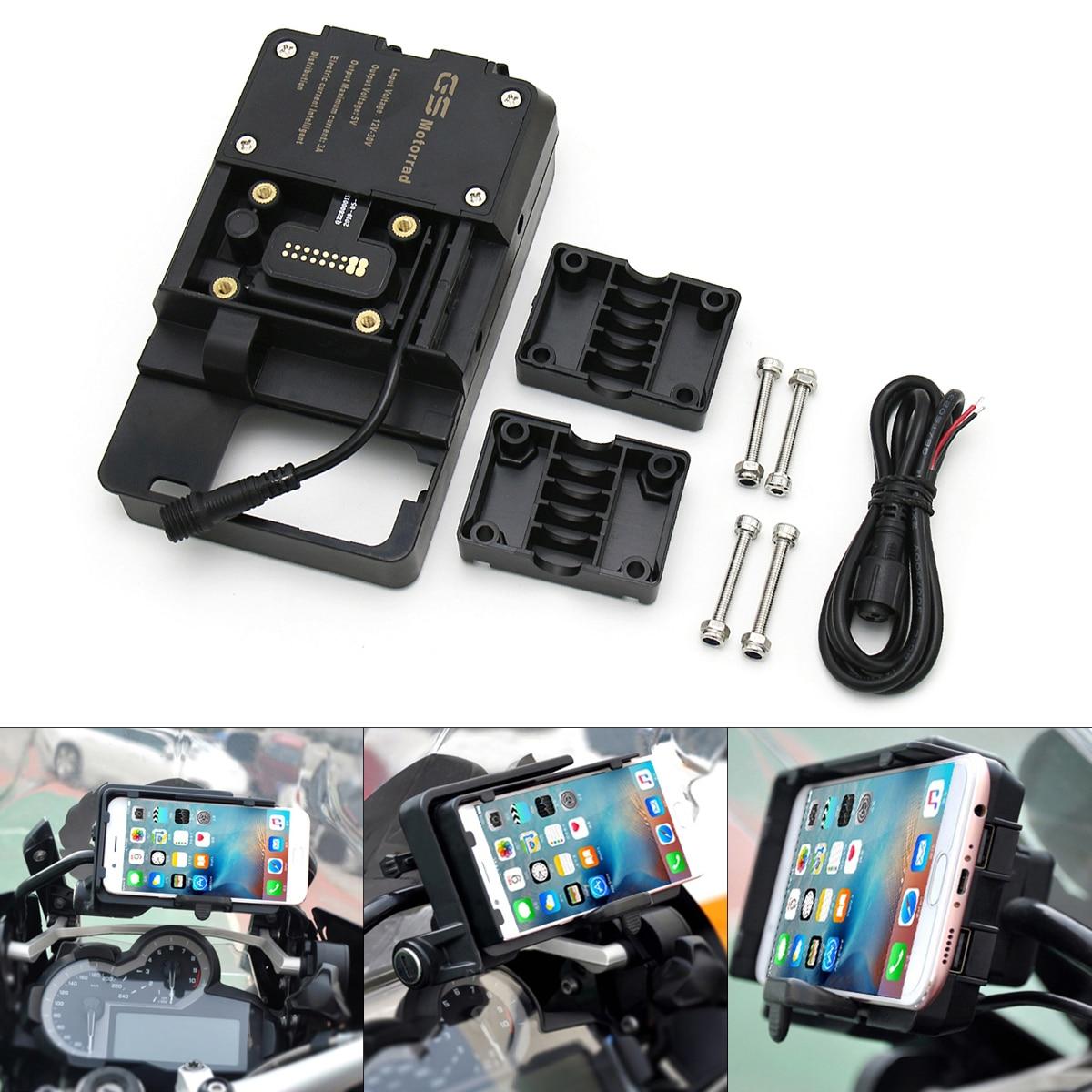 حامل هاتف خلوي عالمي للدراجات النارية ، حامل شحن USB ، نظام ملاحة قابل للتعديل ، قوس ملاحة BMW R1200GS GSA R1200R R1200RS S1000R XR