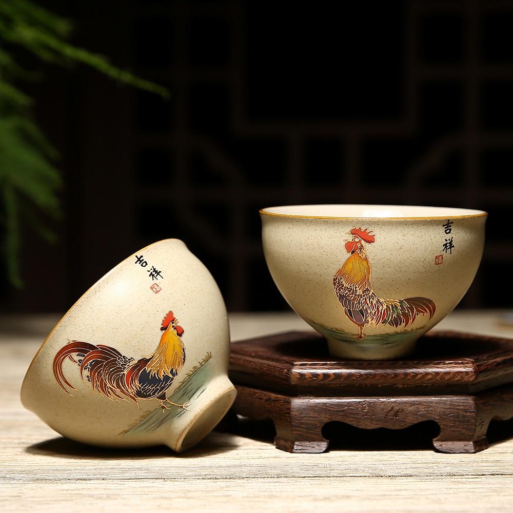 Surowa ceramika filiżanka w stylu chińskim Retro złoty kutas kubek ceramiczny zestaw do herbaty Tasing kubek do herbaty