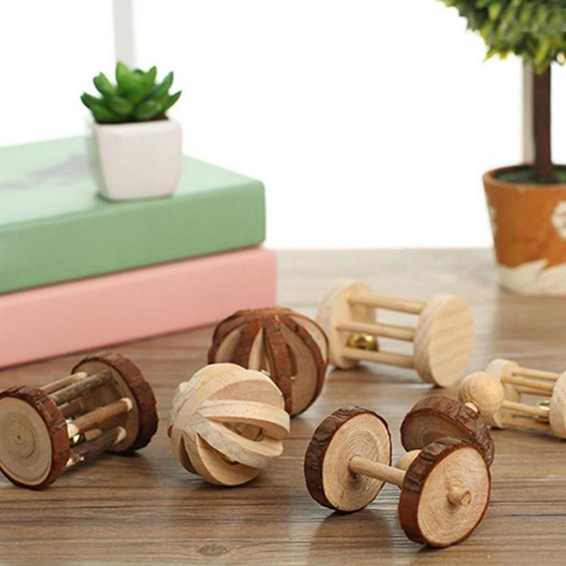 Slatke prirodne drvene igračke borove bučice valjak za zvonce za - Kućni ljubimci - Foto 4