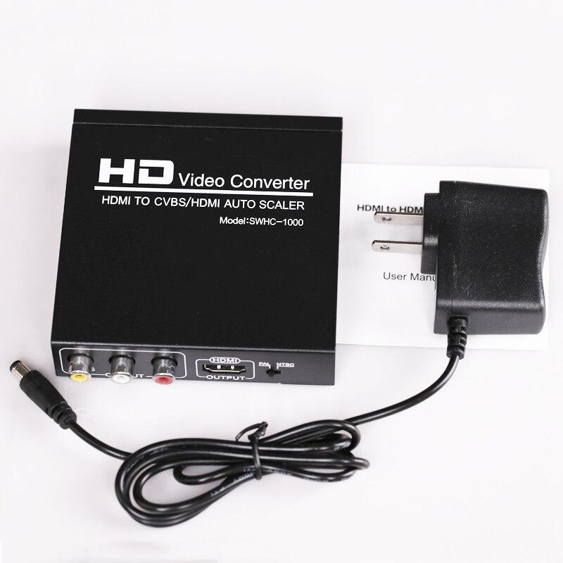 Haute qualité HDMI vers CVBS AV/HDMI détartreur automatique NTSC PAL Format TV, convertisseur vidéo HD pour VHS, magnétoscope, enregistreur DVD