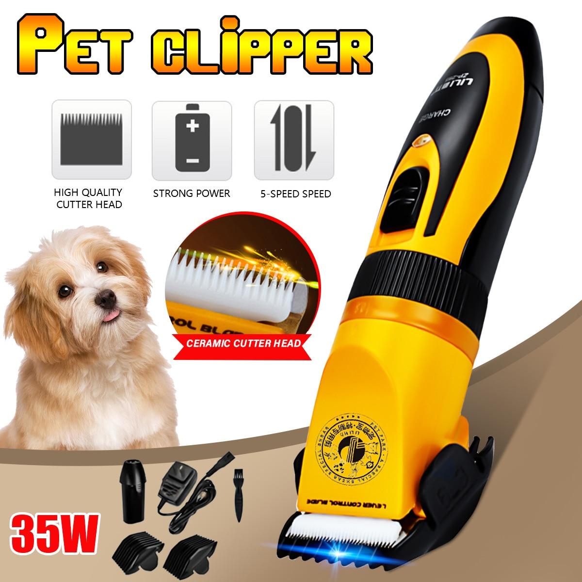 LILI-ماكينة تشذيب شعر الحيوانات الأليفة الاحترافية ، ماكينة حلاقة كهربائية بدون صوت ، قابلة لإعادة الشحن ، لقص شعر الكلاب والقطط ، 35 واط