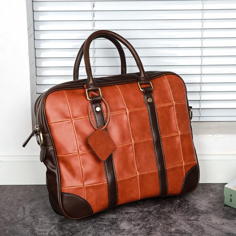 "Vintage Fashion Block Color Horizontal Handbag Big 14"" Laptop Bag Cool Young Men Business Briefcase"