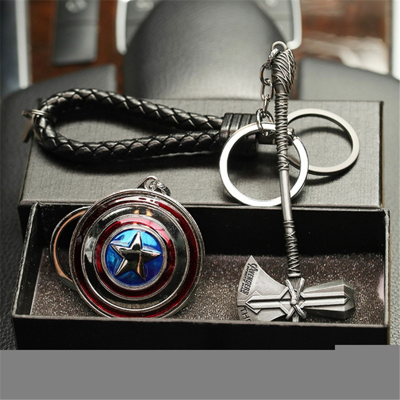 Marvel Avengers 4 Iron Man máscara Thor martillo Mjolnir stormbreaker Capitán América escudo Mjolnir Infinity guantes llavero