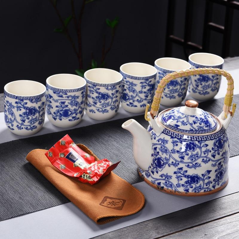 7 قطع الأزرق والأبيض الرجعية طقم شاي من السيراميك الطيور زهرة تصميم مع حامل معدني الخزف أكواب شاي مجموعة و إبريق الشاي