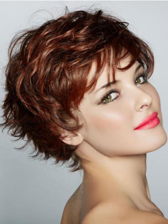 Capless Human Hair short Wavy Stylish 9.25 Inch Wigs costume wig for white women