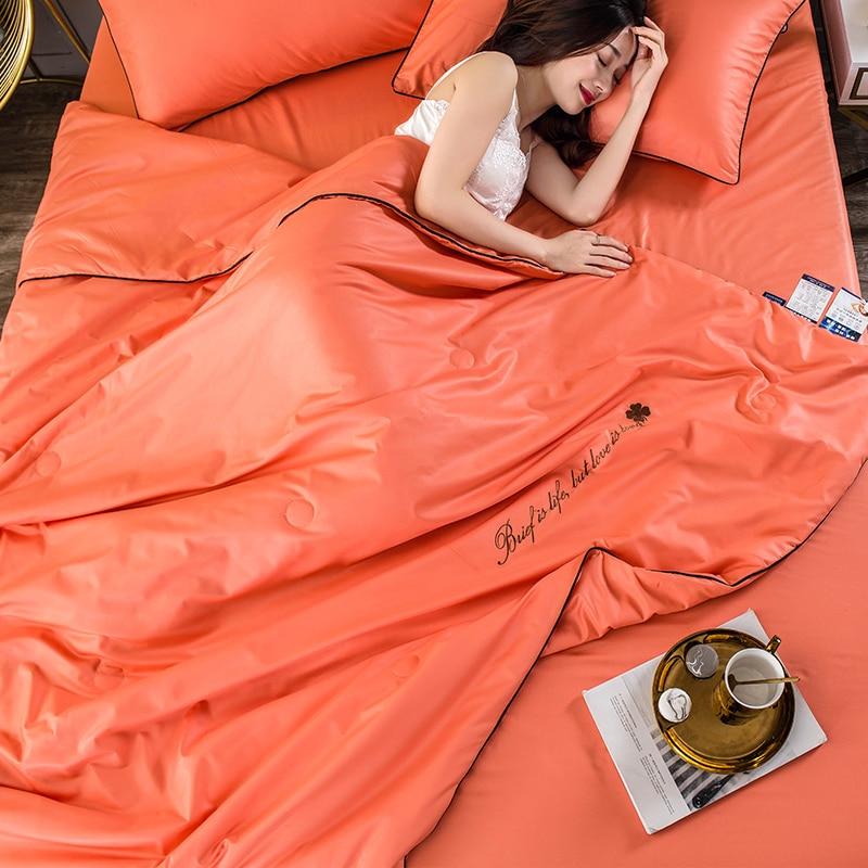 جديد 4 قطعة مجموعة 100% الحرير بياضات سرير غسلها القطن رمي البطانيات الصيف الصلبة الفراش المعزي تكييف الهواء لحاف