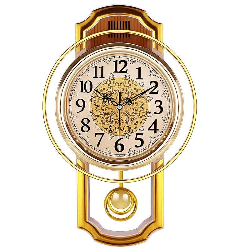 European Retro Pendulum Wall Clock Gold Vintage Living Room Simple Bedroom Silent Quartz Clock Modern Clock Living Room Watch W6