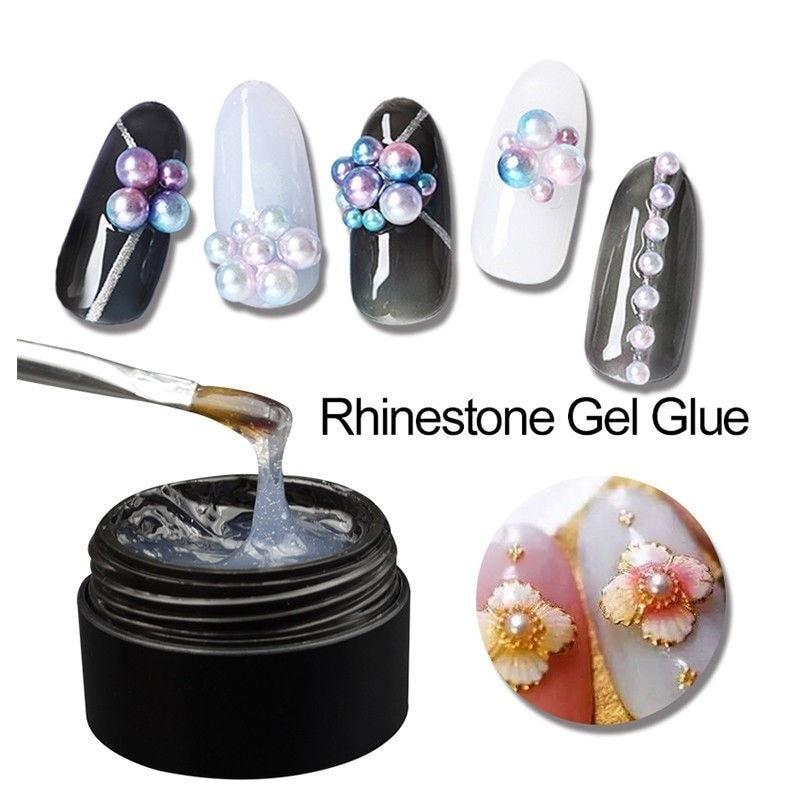 8ML Nail Art Rhinestone Gel Glue Super Sticky Adhesive UV Gel Nail Polish Glue for DIY Nail Art Crystal Gems Jewelry Decoration