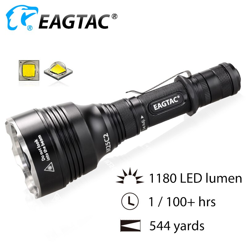 EAGTAC M25C2 Turbo Head LED Tactical Flashlight 1180 Lumens 18650 544 Yards Long Throw for Hunting SOS Strobe Momentary On Off
