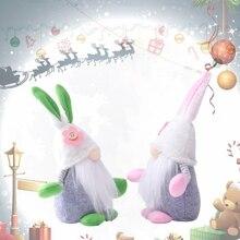 Lapin de pâques Gnome printemps vacances décoration de la maison en peluche à la main lapin suédois Tomte Elf ornement