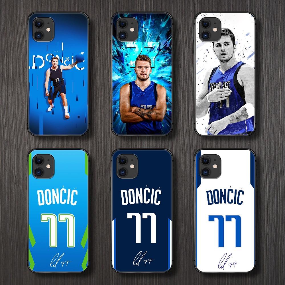 Funda de teléfono de baloncesto Luka Doncic 77, carcasa para iphone 5 5s se 2 6 6s 7 8 plus X XS XR 11 PRO MAX, carcasa negra de parachoques 3D de tpu