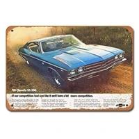 1969 chevrolet chevelle ss 396 car auto vintage tin sign metal decor metal sign metal poster