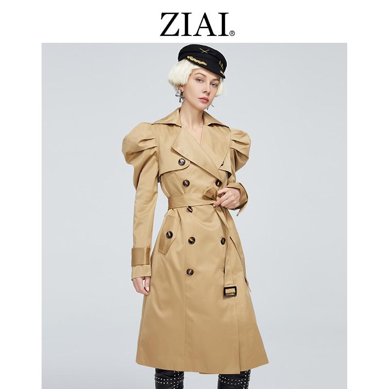 ZIAI جديد الخريف المرأة خندق معطف الكلاسيكية مزدوجة الصدر الأميرة الأكمام طويلة قميص أعلى سترة واقية النساء سترة ZS-DS11