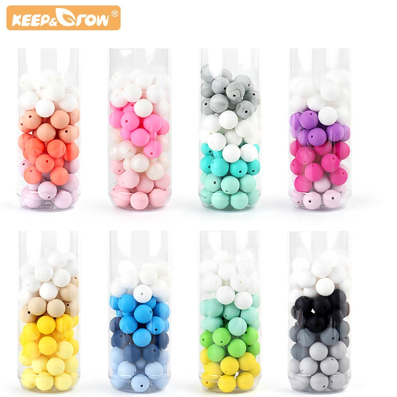 Bebe 15MM Round Teething Beads DIY Chewable Colorful Teething Pacifier Chain Bracelet BPA Free Silicone Beads Newborn Care Toys