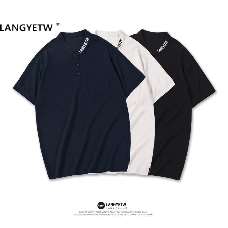 Летние мужские рубашки-поло Langyetw из 100% хлопка, высококачественные простые рубашки-поло с вышивкой, Мужская футболка с коротким рукавом
