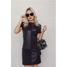 Женское винтажное кожаное лоскутное элегантное офисное платье с длинным рукавом и круглым вырезом, однотонное повседневное мини-платье, осень 2020, новое модное платье