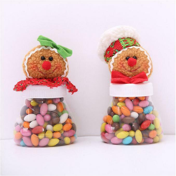 Nueva caja de almacenamiento de adornos de regalo creativa de plástico con tarro de dulces navideño transparente bonito