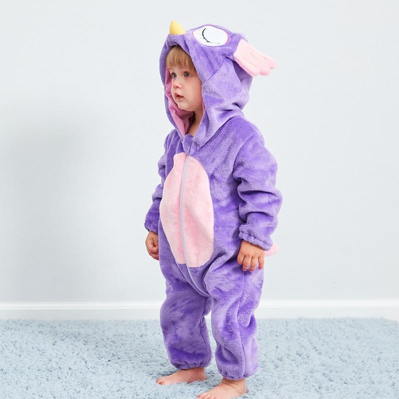 Pijamas para niños bebé lindo búho morado pieza pijamas otoño e invierno cálido franela bebé onesies niños romper