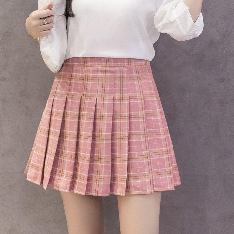 XS-3XL Falda corta para mujer estilo universitario alta cintura elegante costura falda verano estudiante plisado falda femenina Linda dulce chica dan