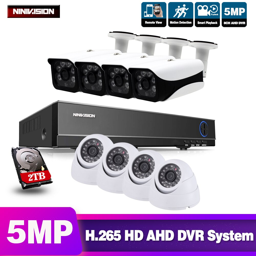 NINIVISION 8CH 5MP H.265 Video vigilancia Kit cámara Video vigilancia Kit CCTV 5MP Cámara AHD sistema de seguridad al aire libre AHD