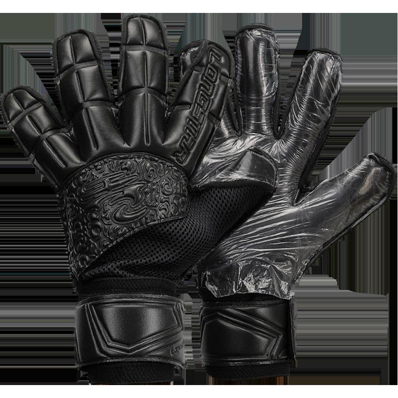 Black Non-Slip Breathable Goalkeeper Gloves Thickened 4mm Latex Professional Soccer Goalkeeper Gloves Luxury Adult Child Glove