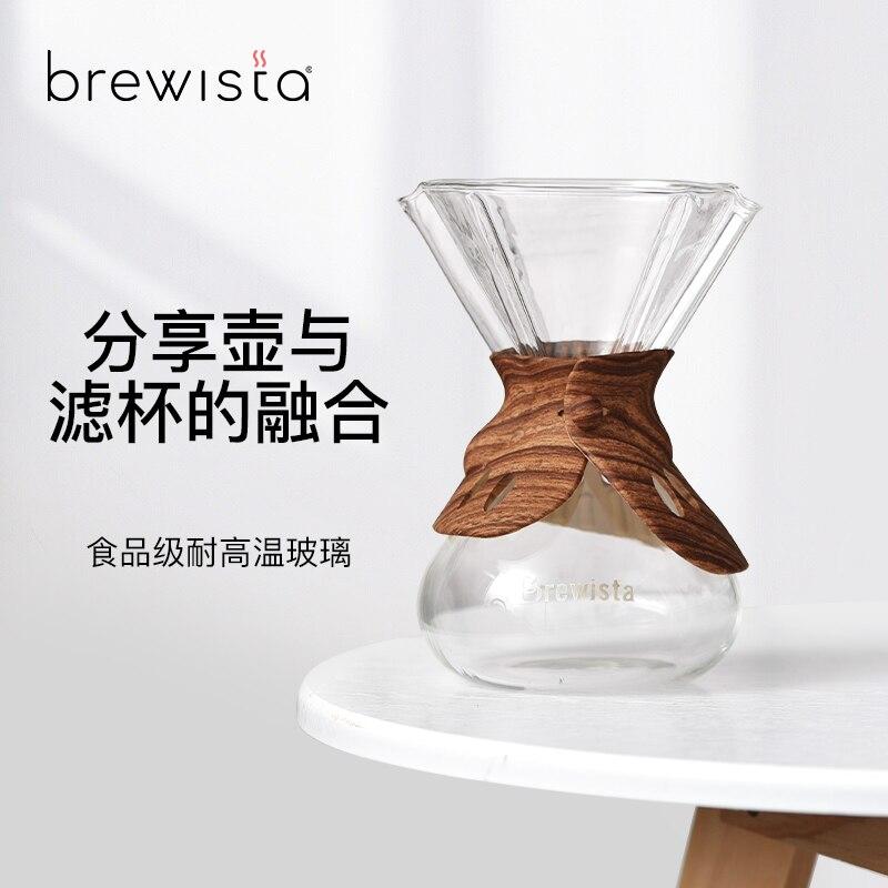 Brewista ارتفاع درجة الحرارة الزجاج المقاوم اليد يخمر إبريق قهوة كوب فلتر تقاسم وعاء متكامل مع سيليكون التفاف 500 مللي/750 مللي