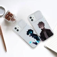 my hero academia dabi fire phone case transparent for iphone 7 8 11 12 x xs xr mini pro max plus slide camera lens protect anime