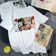 My Hero Academia japan Anime Print Fun Top Casual Summer Harajuku Loose Cute women Ulzzang t-shirt boku no hero Cartoon tees