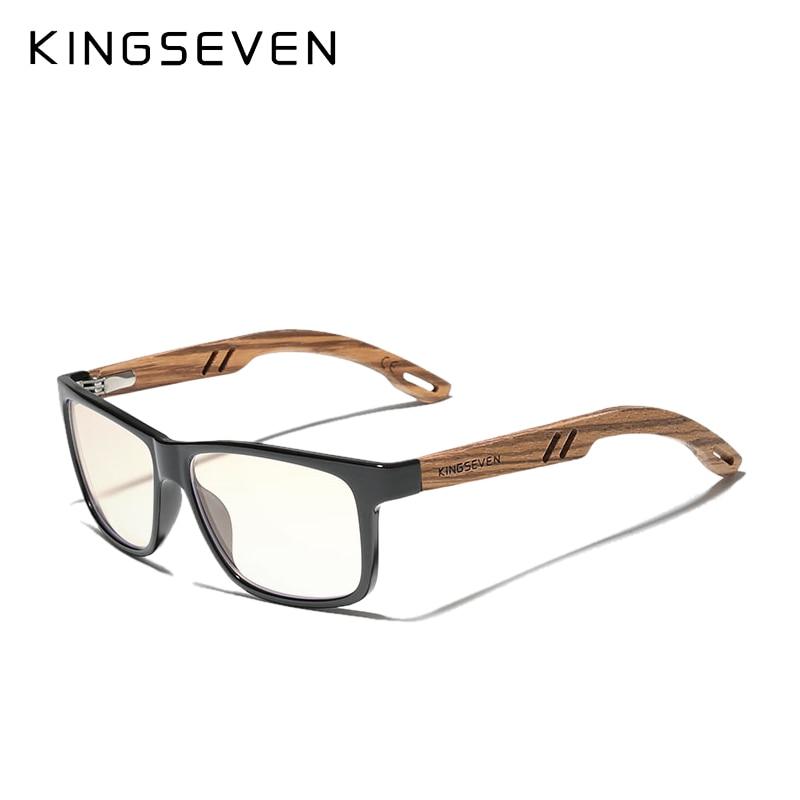 KINGSEVEN New Design TR90 Frame + Wooden Temples Blue light Blocking Lens Sunglasses Polarized Men W