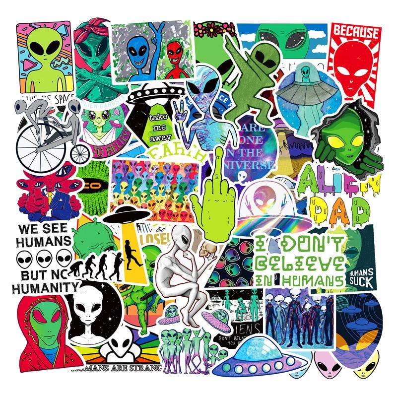 Bonitas pegatinas de alienígena de vinilo de 50 Uds., juguete para niños, pegatina de Graffiti UFO, paquete para Skateboard, portátil, equipaje, guitarra, casco