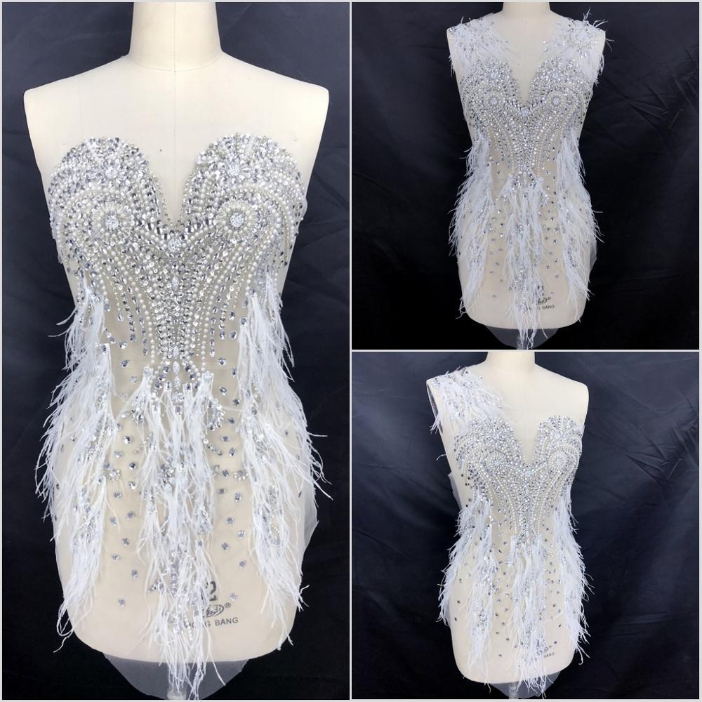 Estilo Estrella de Plata hecha a mano de encaje con cuentas pluma coser en lentejuelas diamantes de imitación para coser Diy boda Show girl disfraces decoraciones