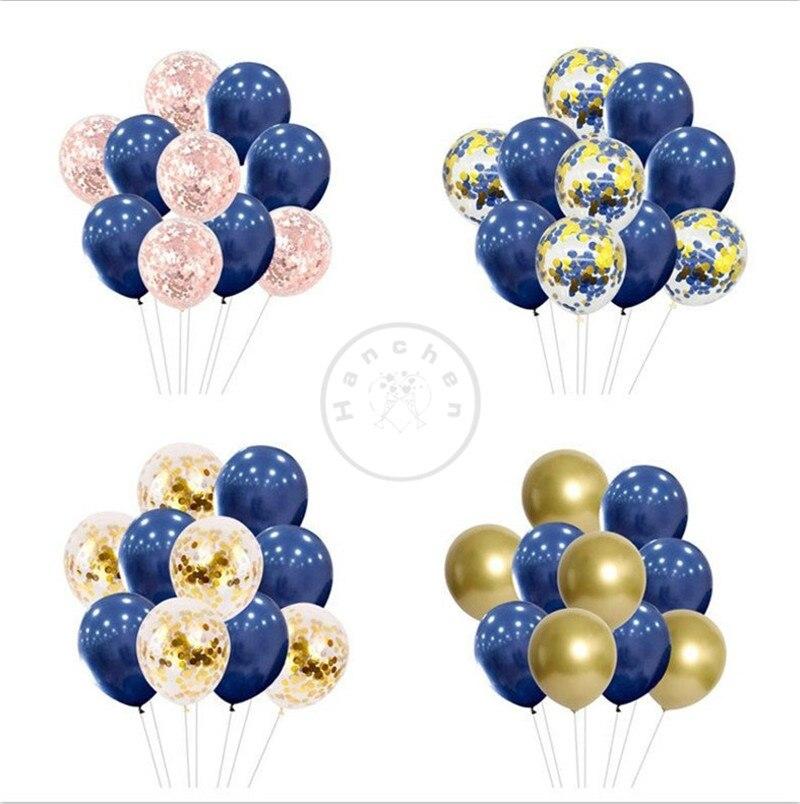 20 piezas globos de látex mezclados 12 pulgadas de la Marina globos rosa confeti cromado oro globos despedida de soltera fiesta de cumpleaños Baby Shower Ballo