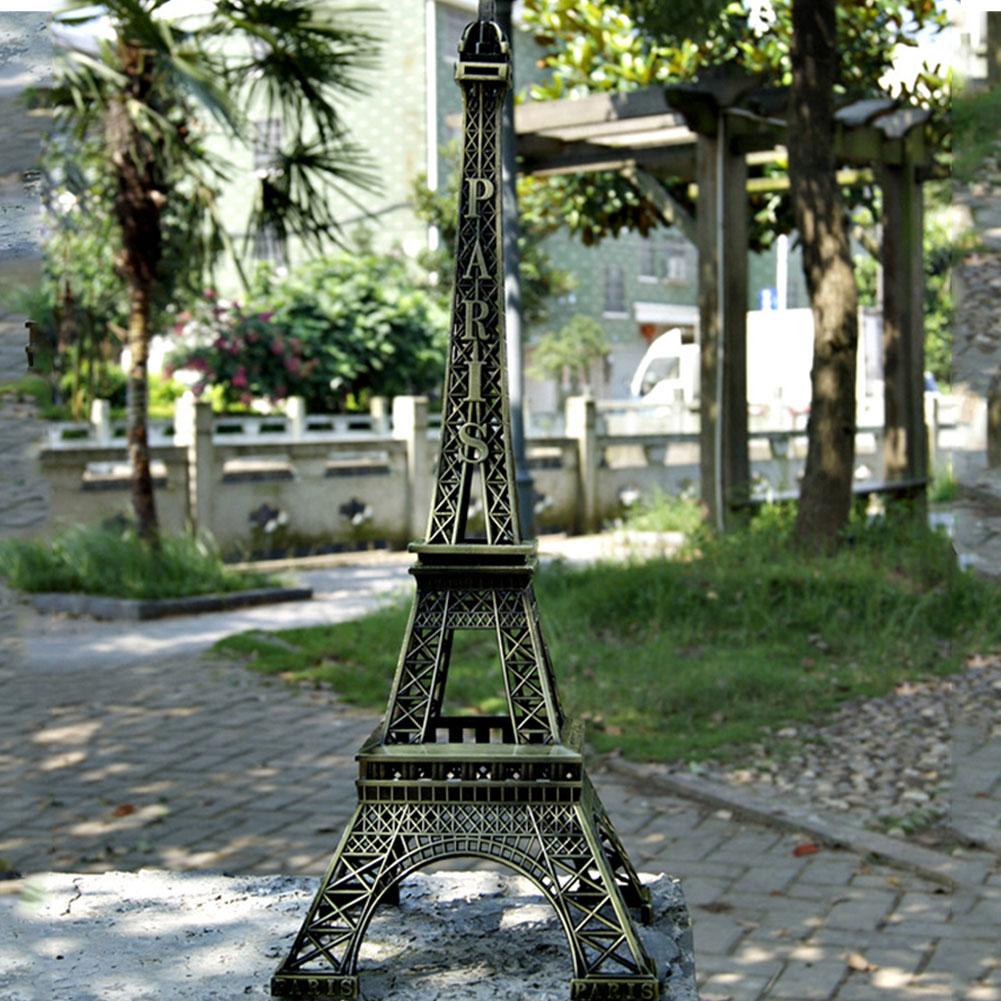 Tipos romántico tono bronce Retro casa dormitorio Escritorio de mesa de coche manualidades decorativas de la Torre Eiffel figuras estatuas de modo