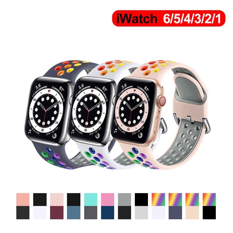 Ремешок спортивный для смарт-часов Apple watch band 44 мм 40 мм iWatch 42 мм 38 мм, силиконовый браслет для Apple watch 3 4 5 6 se ремешок для смарт часов eva ava001 для apple watch 38 мм розовый